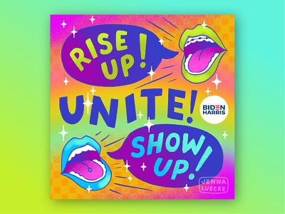 Rise Up, Show Up, Unite! fashion illustration lettering rainbow procreateapp design illustration digital illustration biden election vote riseupshowupunite