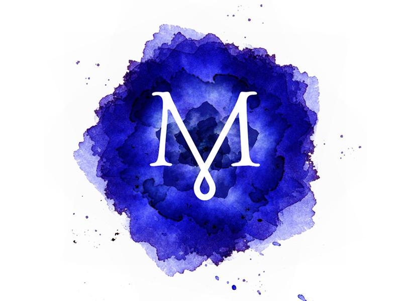Beth Mastrude Designs identity ink watercolor logo m droplet splatter