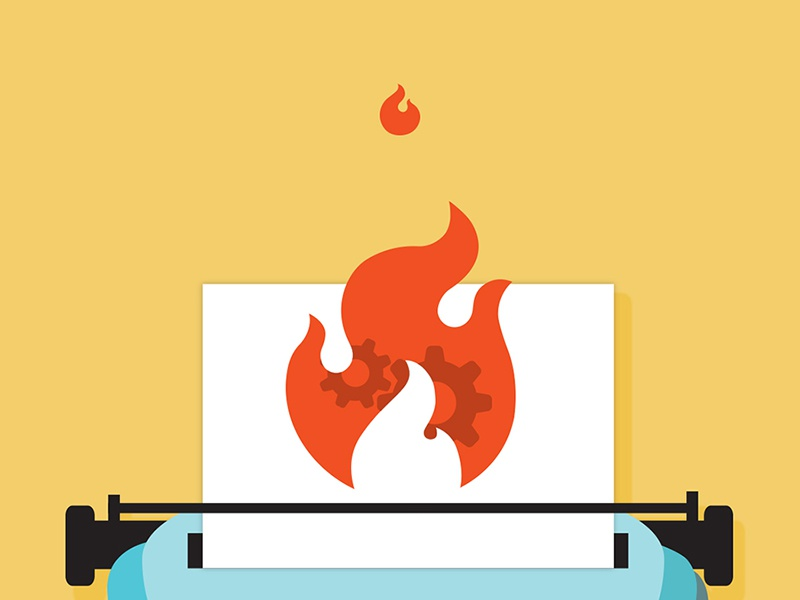 Why support stories spread like wildfire. writing flames retro design flat illustration support typewriter fire
