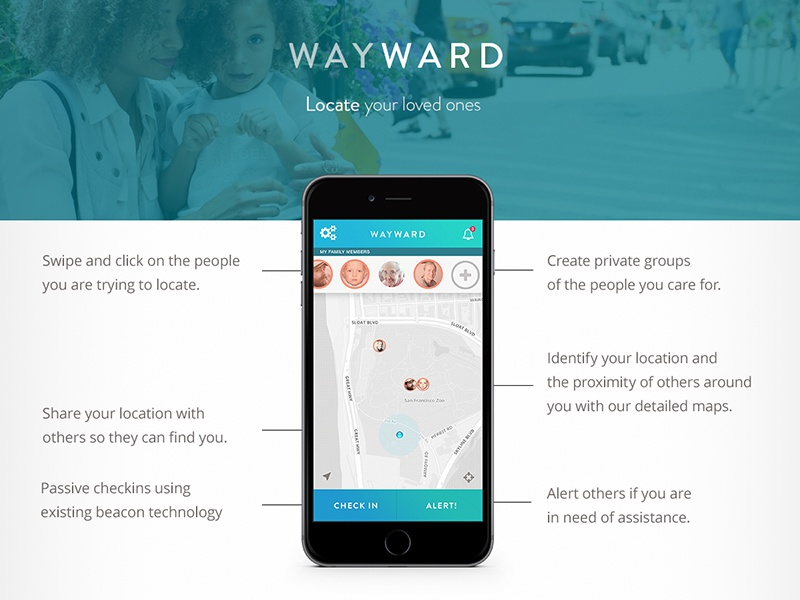 Wayward - Lost and Found App mobile interface ux ui map design app found lost