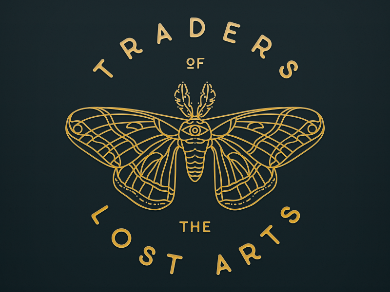 Traders of the Lost Arts logo insect butterfly gallery studio art moth logo