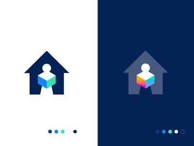 acuro flat smart minimal creative identity icon mark illustration logo cardboard holding negative space box house home medicine logistic ecommerce delivery package