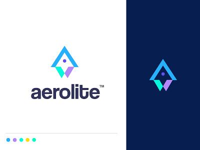 Aerolite idea aerolab aerial cloud aerospace talent show engineering innovation management aeronautics rocket branding concept minimal creative identity icon mark illustration logo