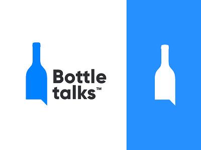 Bottletalks speech bubble communication home made online shop winery speak chat talk bottle blue design branding concept minimal creative identity icon mark logo
