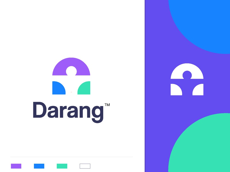 Darang people support care insurance health risk management gradient colorful rise letter d negative space man branding concept minimal creative identity icon mark illustration logo