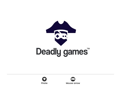 Deadly games gun ocean controller video game pirates of the caribbean joystick thriller sea acton pirate games dead branding creative minimal identity icon mark illustration logo