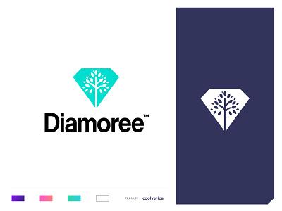Diamoree smart logo negative space tree merchant online precious diamond jewellery pearl ruby gold branding concept minimal creative identity icon mark illustration logo