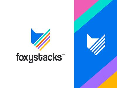 foxystacks trend smart creative design layer colourful app language technology software design stacks animal fox branding concept minimal creative identity icon mark logo