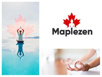 Maple zen mind meditation leaf negative space buddha yoga zen canada mapple branding design concept minimal brandhalos creative identity icon mark illustration logo