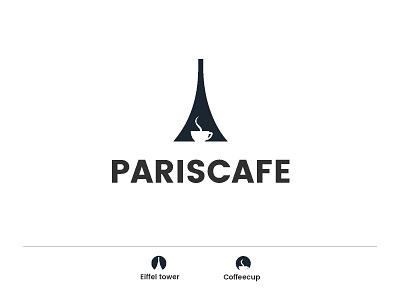Paris cafe coffee cup coffee snacks food salad cake cookie eiffel tower paris negative space branding concept minimal vector creative identity icon mark logo