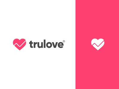 trulove true love community negative space profile search bride  groom check heart tick love wedddig matrimony branding brand minimal identity icon mark illustration logo