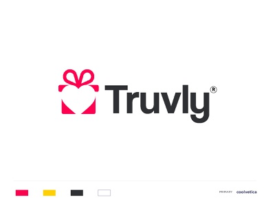 Truvly gift wrap boxed cards wrapping paper gift cards packaging heart love gift box negative space clever concept minimal artission vector creative identity icon mark illustration logo