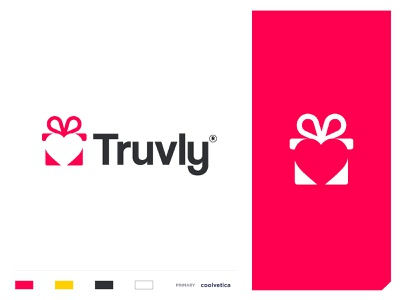 truvly anniversary negative space packaging design present bonus gifts prize heart love boxed cards bags wrapping paper gift wrap minimal vector identity icon mark illustration logo