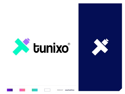 Tunixo product branding communication agency shooting camera film production advertisment video player lettering digital content creation video production branding concept minimal creative icon identity mark illustration logo