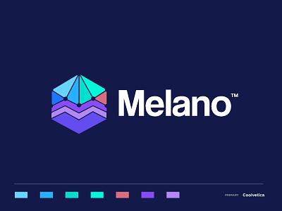 melano3 abstract triangle personal cosmopolitan netherlands family business colorful gradient melano m i creative branding concept minimal identity icon mark illustration logo