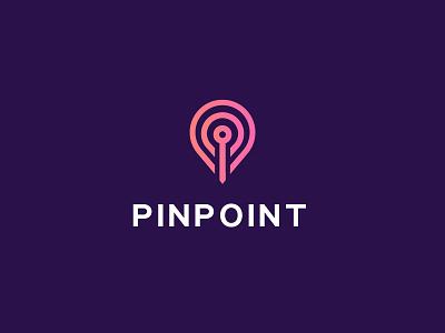 Pinpoint logo mark illustration identity brandhalos pin location point