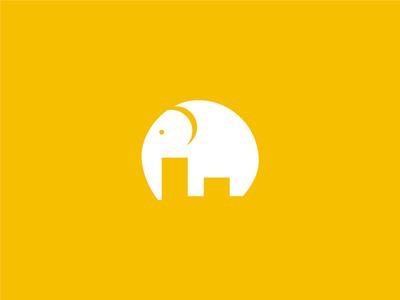 elephant /  F / City negative space logo design