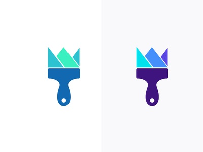 Brush King sword wall painter watercolour clever color minimal war battle security kingdom icon mark crown logo paint brush royalty royal king crown