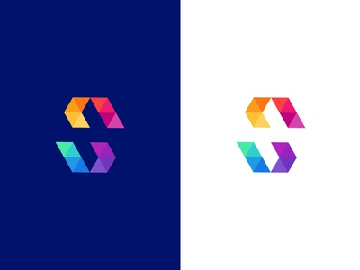 SN/Sonar logo logo mark icon identity typography monogram letter negative space abstract colors money percentage modern n s sn poly polygon symmetry triangle abstract