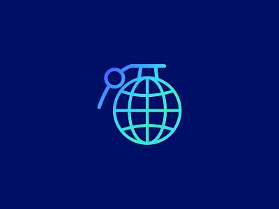 Globe Grenade logo/mark power earth globe military weapon war grenade dangerous danger damage burn boom bomb blast attack palattecorner identity icon mark logo