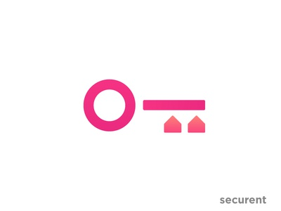 Securent Logo / key / home system rewamp mark real estate icon red home house security app key creative concept clean symbol gradient flat abstract minimal illustration logo