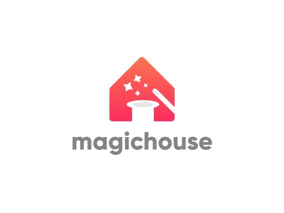 Magichouse Logo vector minimal flat 3d concept creative negative colorfull gradient flat home house magic wand star hat app design icon illustration logo