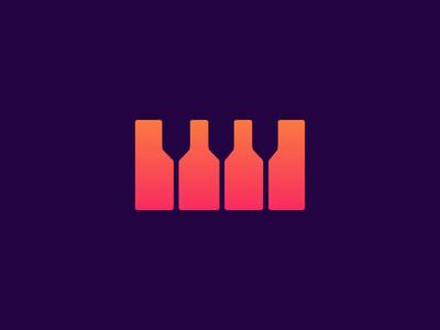 Piano / Wine gradient wine app wine bar pub wine glass beer bottle music wine beer abstract clean minimal flat concept creative sumesh identity icon illustration logo
