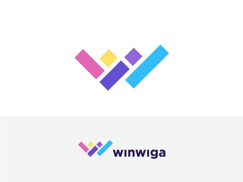 Winwiga flat concept creative agency top 9 game gradient colorful trend 2019 box cube people man letter w logo designer creative identity icon illustration mark logo