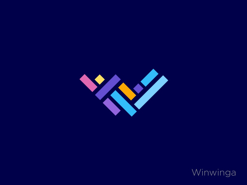 Winwiga simple letter typography trend 2019 top 9 colourfull gradient cube letter w abstract concept flat minimal vector creative icon identity mark illustration logo