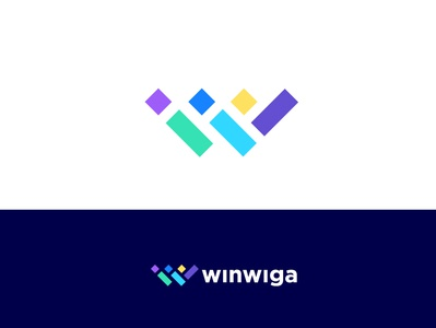 Winwiga cube logo designer best typography art abstract clean gradient top 9 trend 2019 colourfull letter w concept minimal vector creative mark icon identity illustration logo