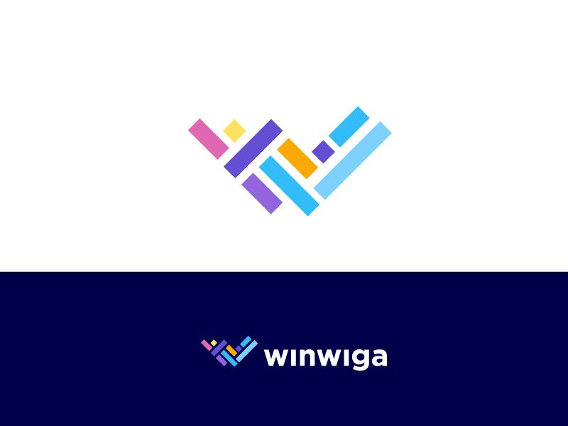 Winwiga simple flat abstract creative trend 2019 trending top 9 typography w logo lettering logo designer minimal letter vector brand identity mark icon illustration logo