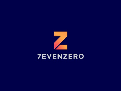 Seven Zero gradient clever orange pub bar flat abstract concept zero number letter z minimal vector creative brand icon identity mark illustration logo