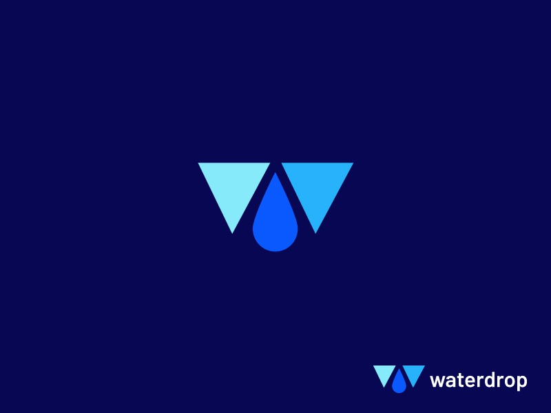 Waterdrop geometric abstract growth arrow top 9 ocean sea blue water drop letter lettering minimal concept vector creative identity icon mark illustration logo