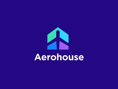 Aerohouse Logo sumesh jose identity icon mark illustration logo vector 2d illustration logo designer logo brand mark home house stay negative space top 9 best modern trend clever concept creative minimal flat abstract geomety gradient color colorfull vacation travel plane wings journey flight