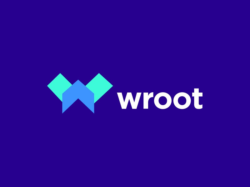 Wroot vector design sumesh jose geometric modern trending flat minimal abstract creative concept clever identity logo monogram letter mark letter w logo designer blue arrow uploads forward file monogram top 9 upload move