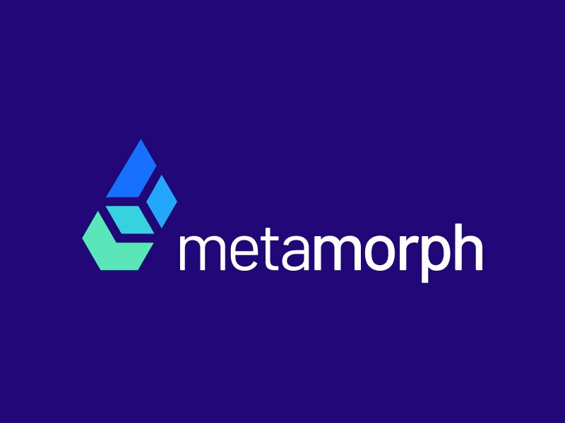 Metamorph box mockup structure triangle rectangle square identity icon mark illustration logo logo designer sumesh jose gradient colourful blue trend modern abstract creative concept technology box connect transformation metemorph