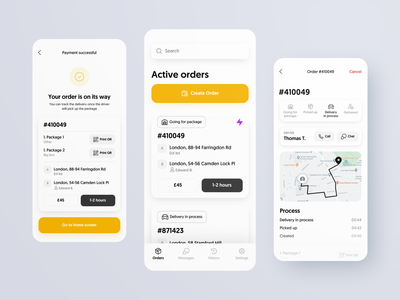 Delivery iOS App yellow delivery app delivery service package order tracking delivery mobile ios app design interface ux ui