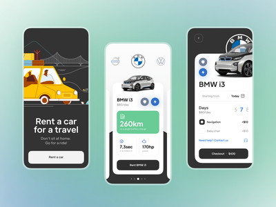 Car Rent iOS App design app ios uidesign uxdesign interface ux ui mobile bmw volvo car gradient color green blue rent travel trip vacation