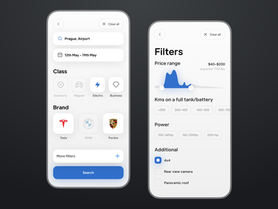 Car Rent Filters iOS App UX UI tesla blue car rent price range search figma electrocar cars filters mobile uxdesign uidesign ios app interface ux ui