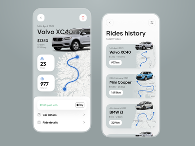 Car Rent Profile and Rides History UX UI car rent rent trip travel settings history stats profile car app mobile ios app colors typogaphy user interface user experience design interface ux ui