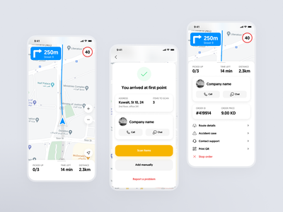 Delivery iOS App Navigation UX UI chat call client order package car tracking apple maps google maps maps navigation driver delivery mobile ios app design interface ux ui