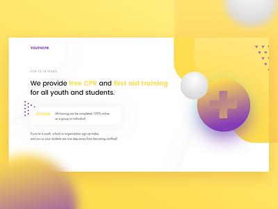 CPR free training medicine web purple gradient ux ui web design interface yellow cpr