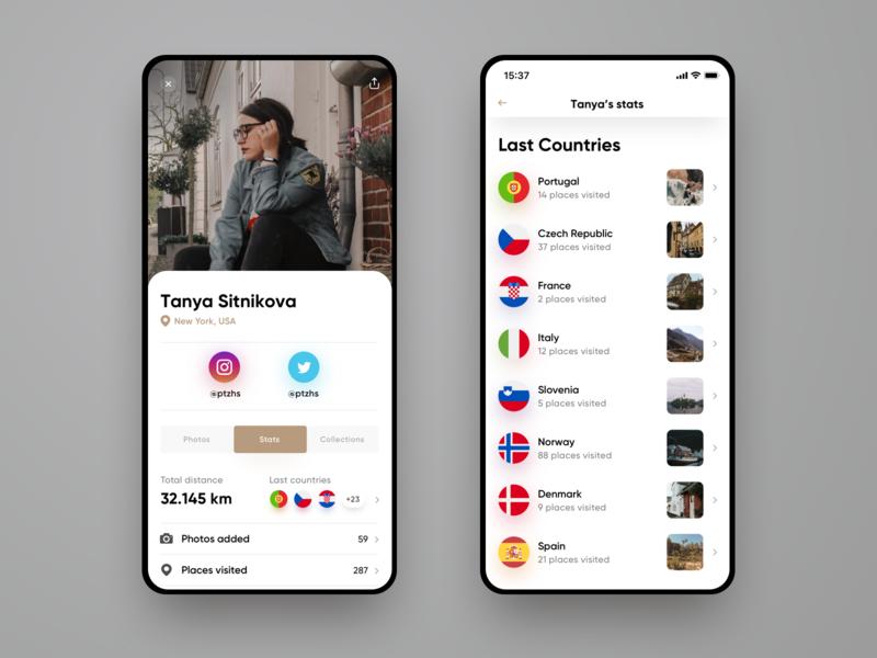 Untravelled App Design #1. Profile and stats account stats profile travel ui ux interface web design design web app ios sketch app uidesign uxdesign