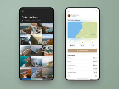 Untravelled App Design #3. Gallery and photo data navigation route quadrocopter dji drone photo gallery gallery uxdesign uidesign sketch app ios app web design web design interface ux ui travel stats