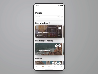 Untravelled App Interaction #4. Open the Place photo description menu bar filters search feed categories uxdesign uidesign sketch app ios app web design web design interface ux ui travel