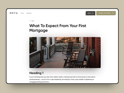 Mortgage Website #1 Article page sketch app education mortgage web design web design interface ux ui article photo heading