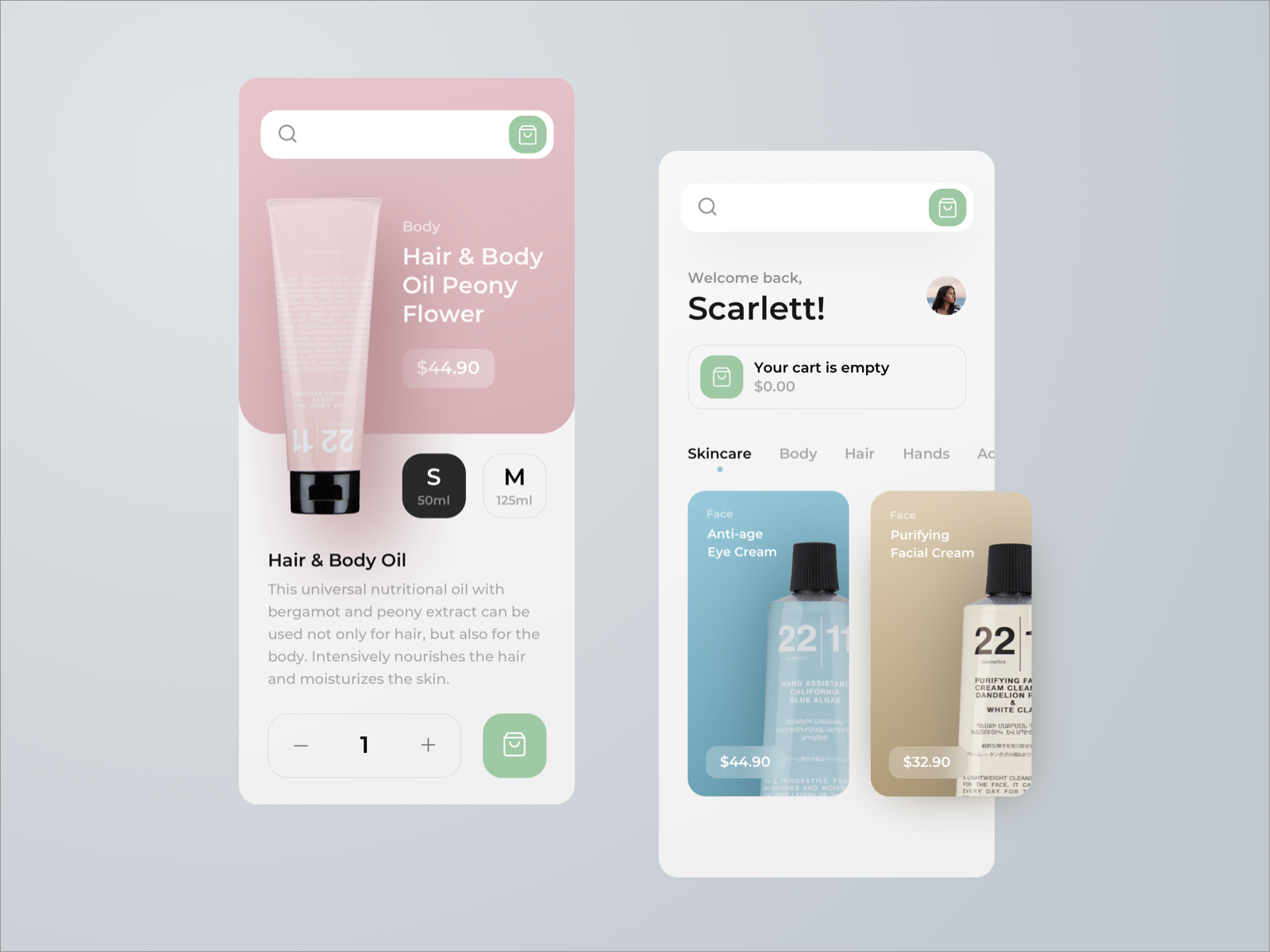Cosmetics E-Commerce App by Konstantin Zhuck for RonDesignLab on