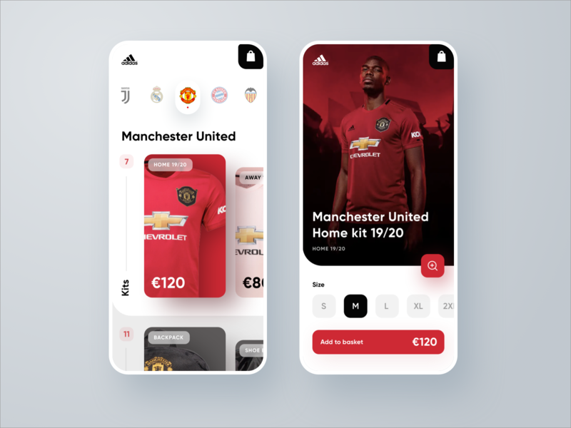 Adidas Shop Application shoping cart ecommerce adidas bayern munich juventus real madrid manchester united soccer football ui ux interface web design design web app ios sketch app uidesign uxdesign