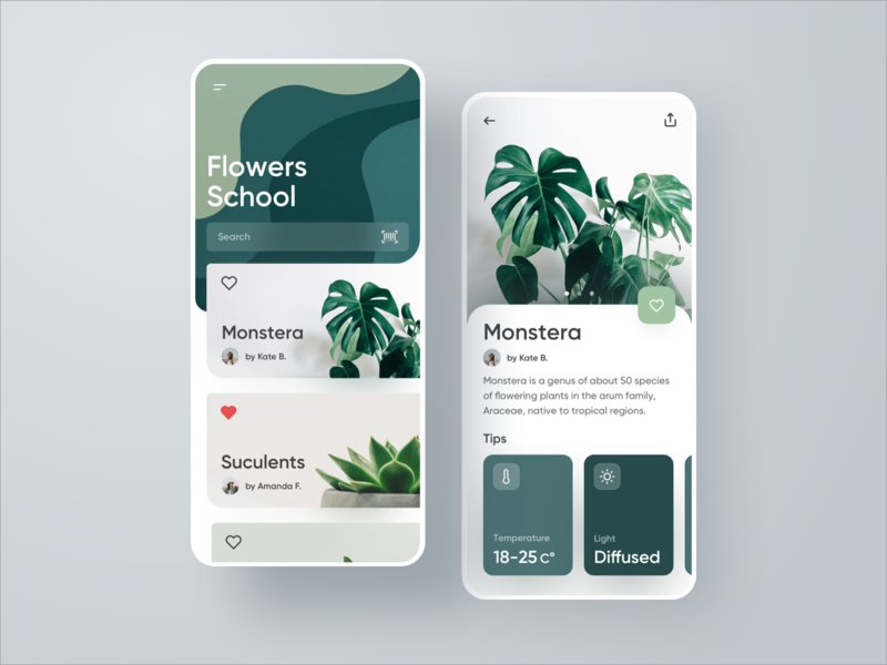 Flower School Plants Application mobile ui mobile app mobile dashboard temperature education flower plants plant uxdesign uidesign sketch app ios app web design web design interface ux ui