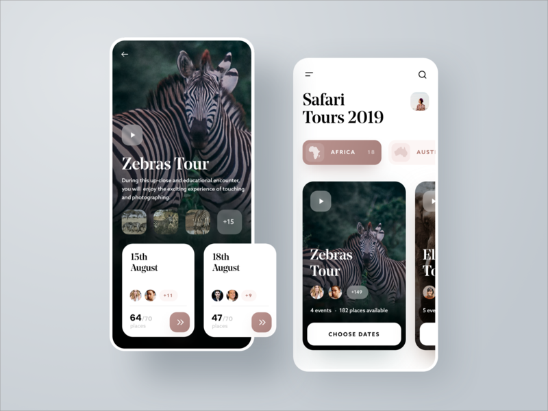 Safari Tours Mobile App UI Design animal sketch app ios app design interface tours africa zebra safari mobile app mobile design mobile ui mobile ux ui
